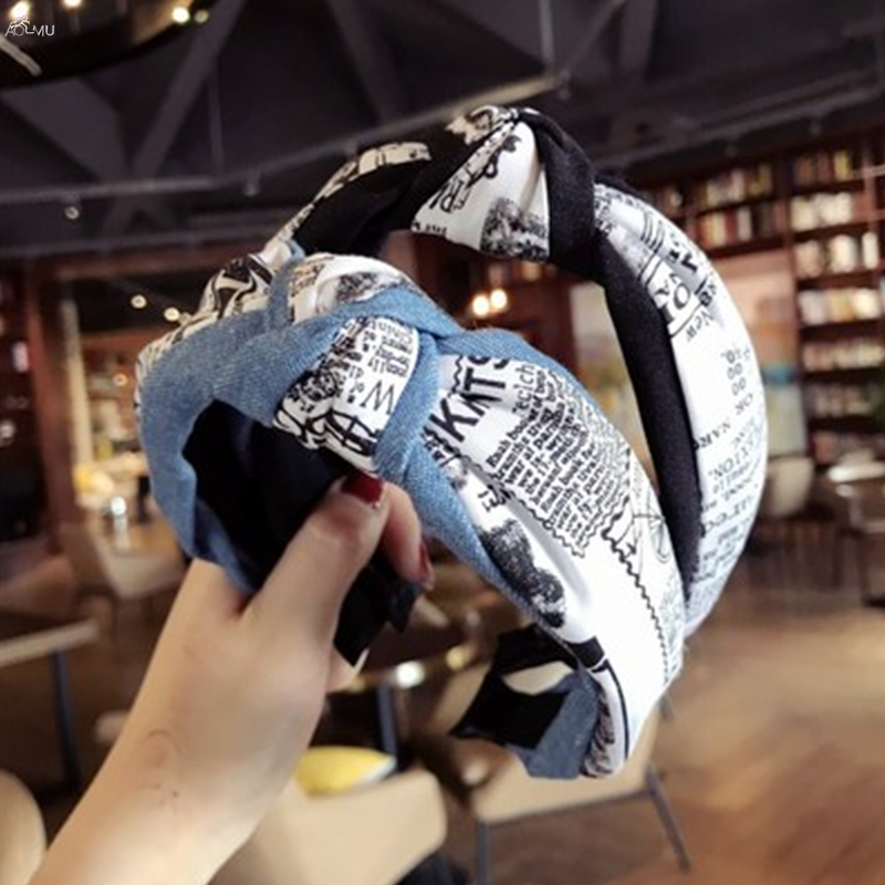 AOMU Wide Knotted Headband 2018 New Denim Cloth Hair Accessories for Women Girls English Letter Hair Band Hair Hoop