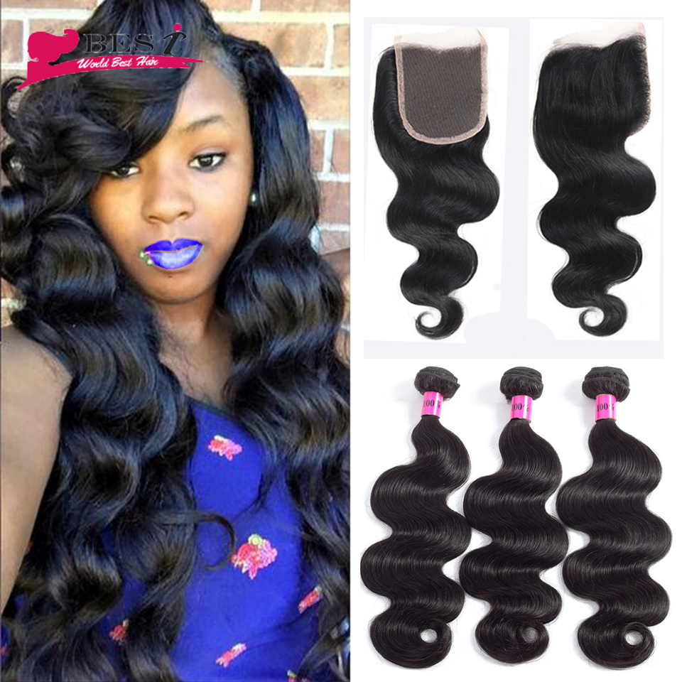 Peruvian Body Wave with Closure 3PCS Peruvian Virgin Hair with Closure Annmode Products with Closure Human Hair with Closure