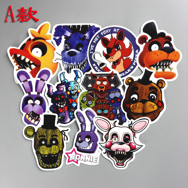 11pcs/1lot Fnaf Five Nights At Freddy Bike Car Laptop Stickers Waterproof Luggage Decal For Skateboard Toy