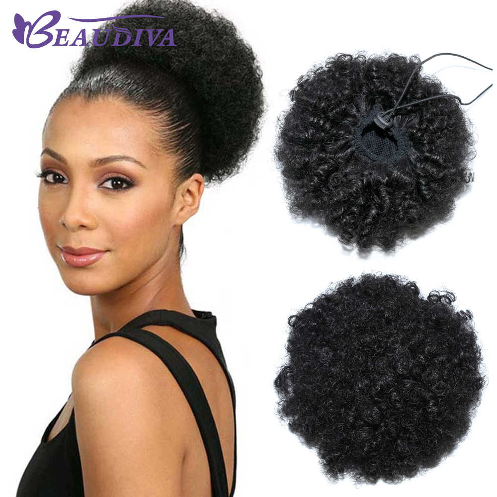 Afro Kinky Curly Ponytail For Women Natural Black NoneRemy Hair 1 Piece Clip In Ponytails Drawstring 100% Human Hair BeauDiva