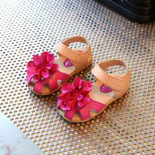 Children shoes sandals 2017 spring and summer new white boys Baotou big flowers tendon bottom only girls girl shoes princess
