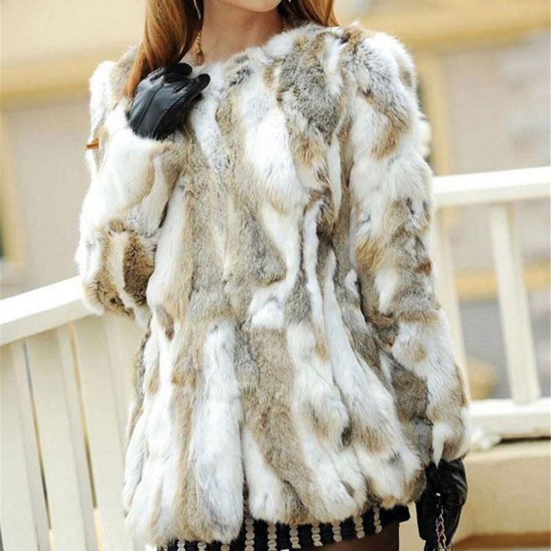 Ethel Anderson Real Farm Rabbit Fur Coat Women Striped Jacket Luxury Parkas Wedding 68cm