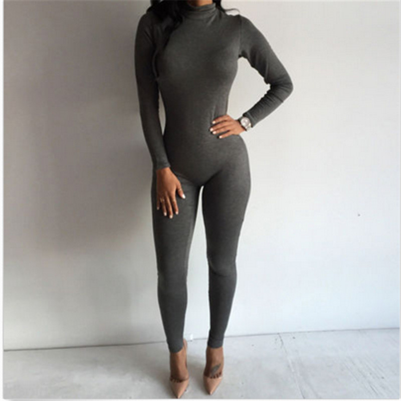 2017 New Hot Casual Women One Piece Jumpsuits Long Sleeve Turtleneck Bodycon Back Zipper Long Pants Sexy Outfits Women Jumpsuit