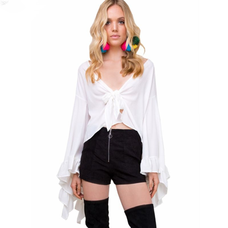 Spring and summer Italy New Cardigan Lace Top V neck Navel Bell Sleeve Joker Women Chiffon Shirt in Blouses amp Shirts from Women 39 s Clothing