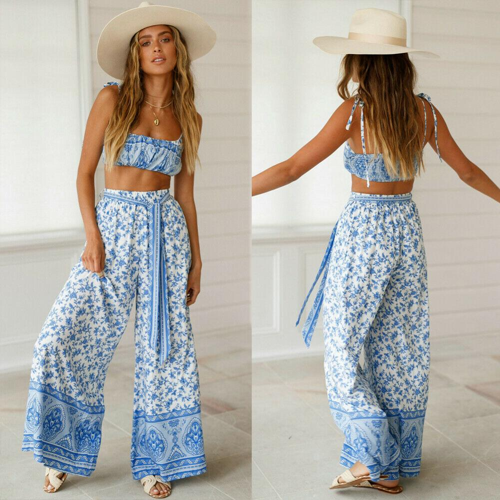 Women 2Pcs Outfits Sleeveless Floral Print Crop Top Long Pants Set Summer Holiday   Jumpsuit   Ladies Casual Clothes