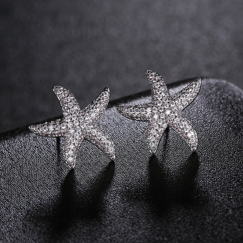 Korea Fashion Star Starfish Stud Earrings Shiny AAA Cubic Zirconia Silver Color Earings For Women Jewelry brincos