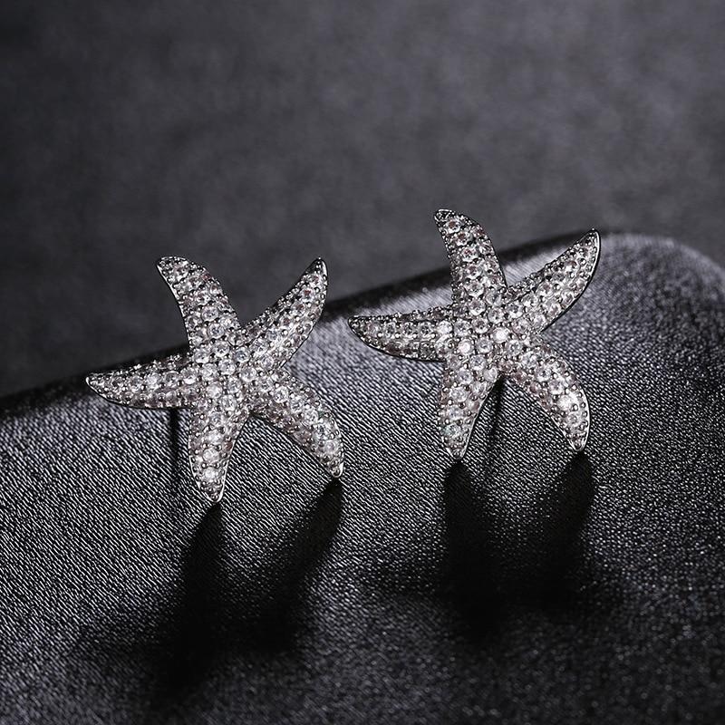 Korea Fashion Star Starfish Stud Earrings Shiny AAA Cubic Zirconia Silver Color Earings For Women Jewelry brincos