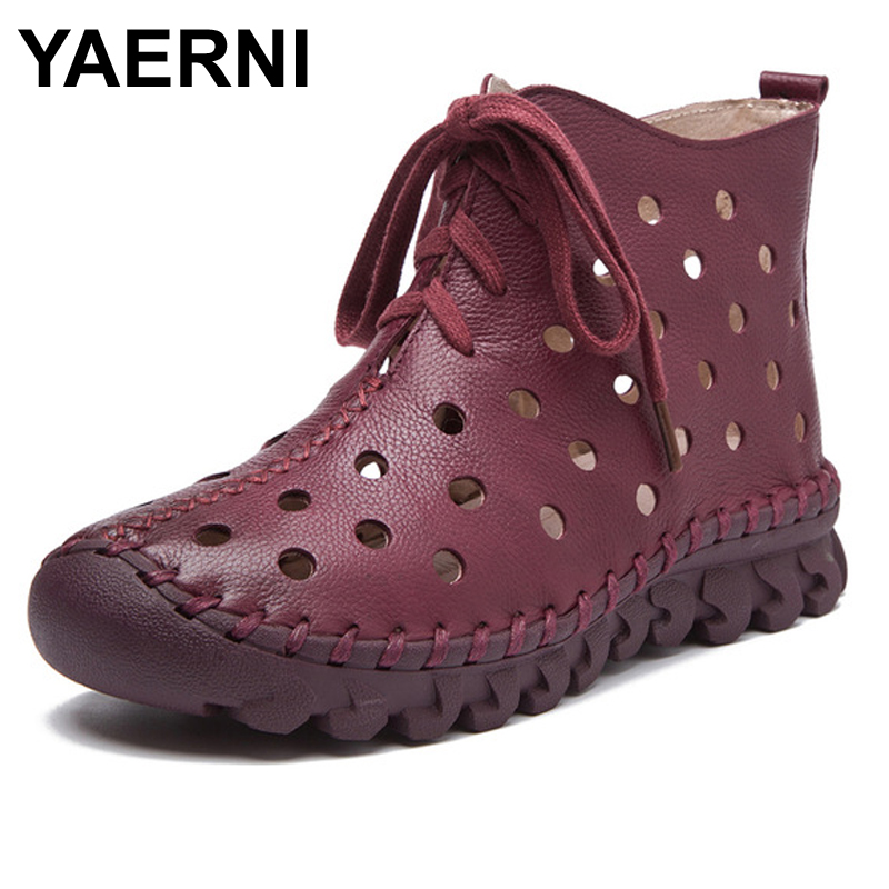 YAERNI Women Summer Boots Handmade Full Grain Leather Ankle Boots For Women Vintage Genuine Leather Hollow Out Soft Shoes yaerni genuine leather hollow out breathable summer sandals boots 2017 autumn fashion sewing flat women flat ankle boots soft