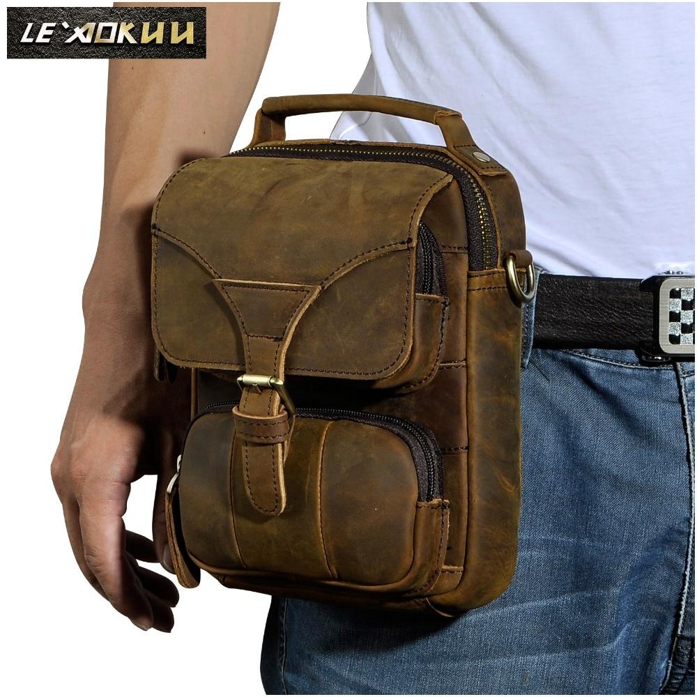 Leather Men Multifunction Casual Fashion Shoulder Messenger Crossbody Bag Designer Mochila Waist Belt Pack Tablet Bag Pouch 2074