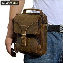 Купить с кэшбэком Top Quality Genuine Real Leather Cowhide men Small Messenger Bag Pouch Waist Belt Pack Tote Bag 2074