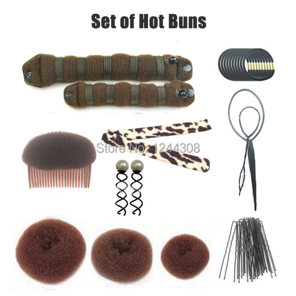 Hair Styling Tools Hot Buns Set Sponge Pad Ball Shape Maker Volume Boost Comb Pins Elastic Bands Accessories In From Women S