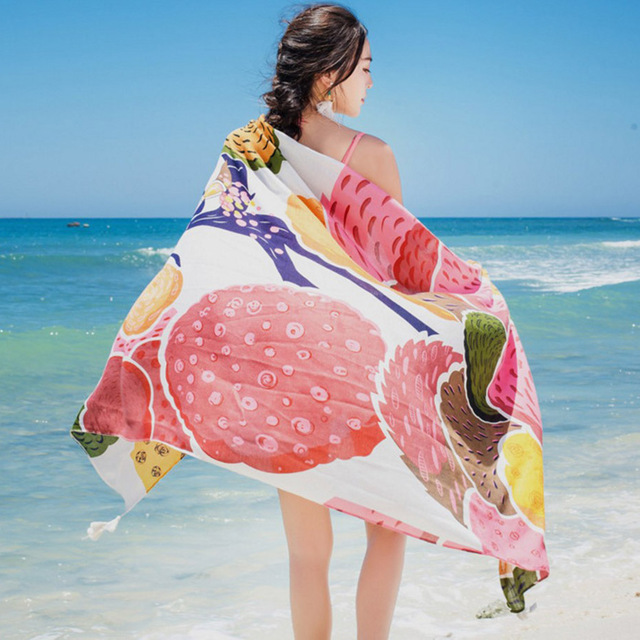180*100cm Summer Print Silk Scarf Oversized Chiffon Scarf Women Pareo Beach Cover Up Wrap Sarong Sunscreen Long Cape Female 3