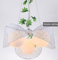 Для домашнего освещения светильник из кованого железа подвесной светильник Современный короткий светодиодный подвесной светильник