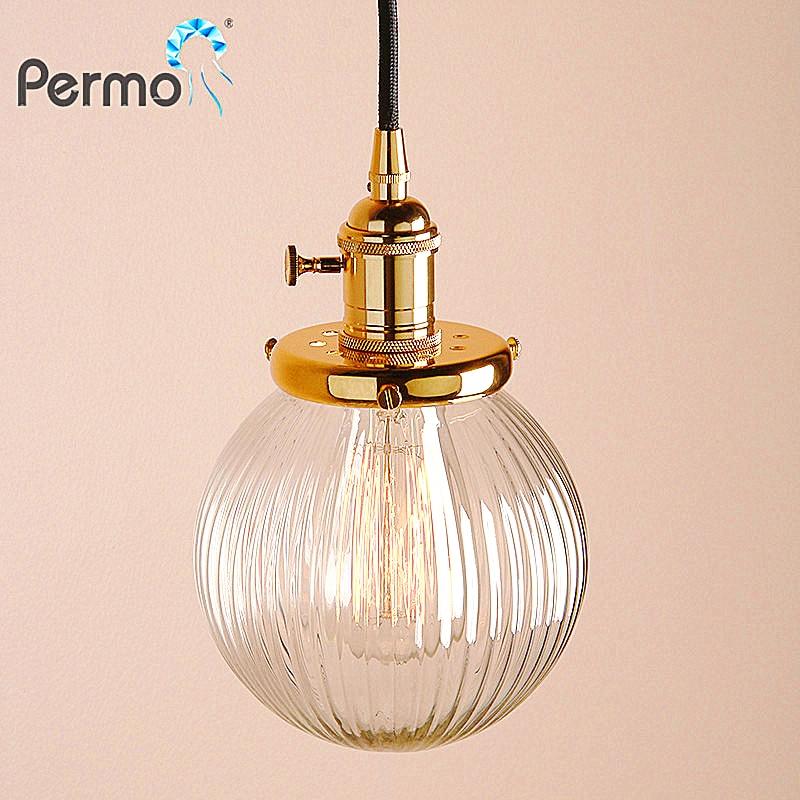 PERMO 5.9'' Clear Globe Glass Pendant Ceiling Lamps Modern Pendant Lights E27 Hanglamp Luminaire Lights Fixture
