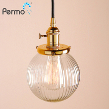 Permo 5.9'' vintage stripe clear globe glass lampshade modern ceiling canopy pendant lamp light fixtures E27 gold for Home decor цена в Москве и Питере