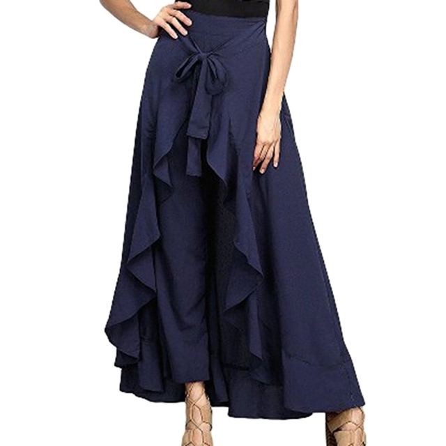 2019 Wrap Skirts Women Casual Fashion Navy Chiffon Tie-Waist Ruffle Wide Leg Loose Pants