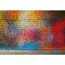 Papel de Parede Papel de Parede de Tijolos Graffiti Colorido Pedra Empilhada Laeacco Partido Da Foto do Retrato Fundos Fotográficos Backdrops Photo Studio