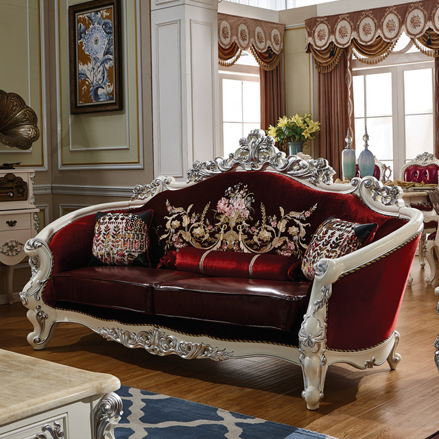 Antique Sofa Set Solid Wood Carving Style Leather