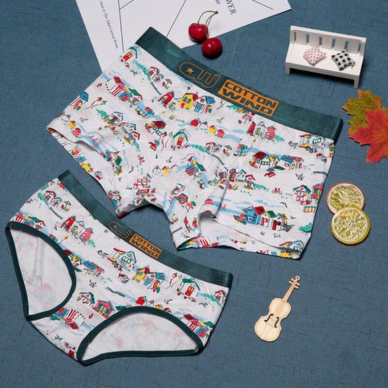 New Hot Couple Underwear Print Shorts Cotton Panties Fashion Women Men Boxer Lover Underpants