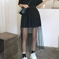 Fashion 2 layers Tulle See Through Women Causal Skirt Street Style Elastic Wasit Short Lining Long Tulle Special Design Skirts