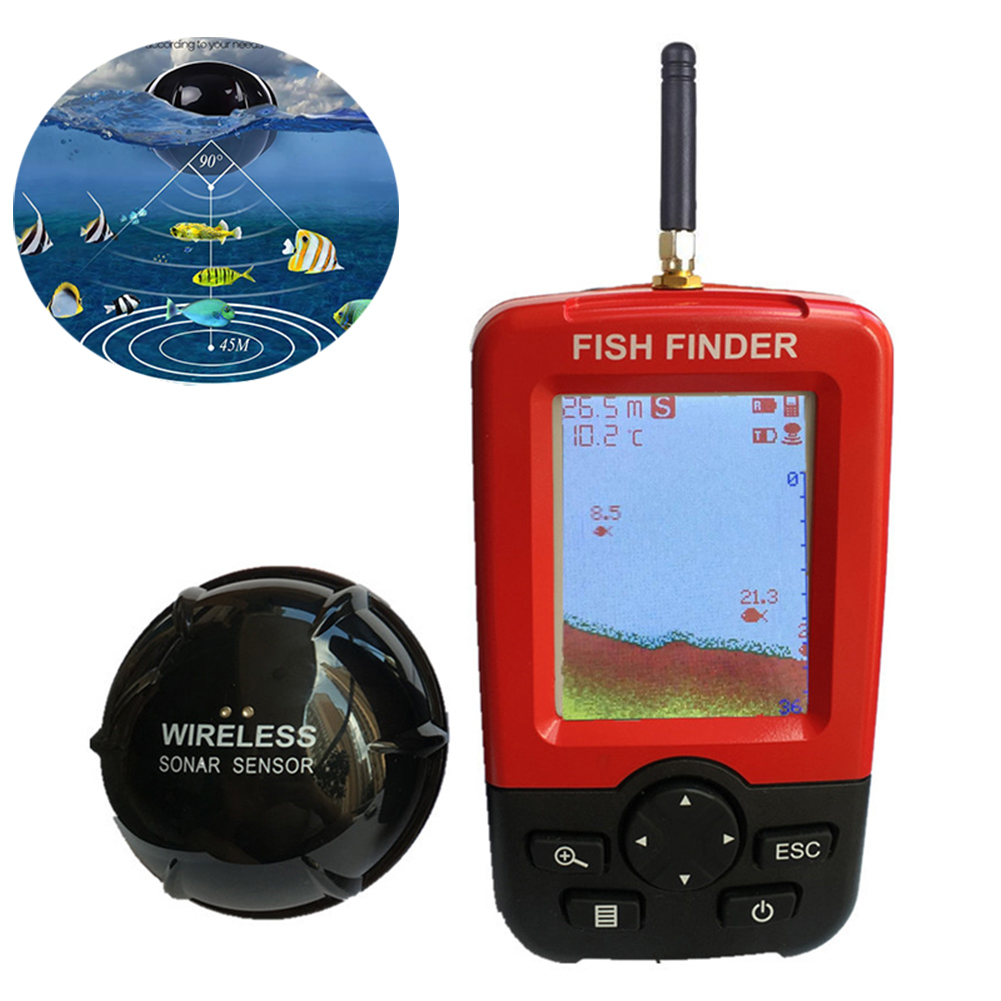 Portable Wireless Fish Finder with Color LCD Display Sonar Sensor Transducer for Fishing YS-BUY runacc smart portable fish finder wireless fishfinder portable fish finder with wireless sonar sensor and lcd display