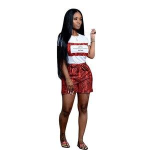 Image 2 - Echoine Vrouwen Slangenprint 2 Stuks Sets Zomer Korte Mouw T shirt Casual Shorts Rood/Oranje Trainingspak Outfits S XXL