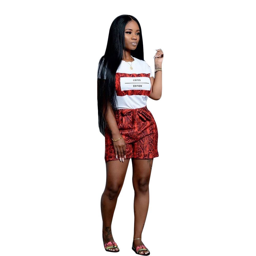Image 2 - Echoine Women Snakeskin Print 2 Pieces Sets Summer Short Sleeve T Shirt Casual Shorts Red/Orange Tracksuit Outfits S XXLWomens Sets   -