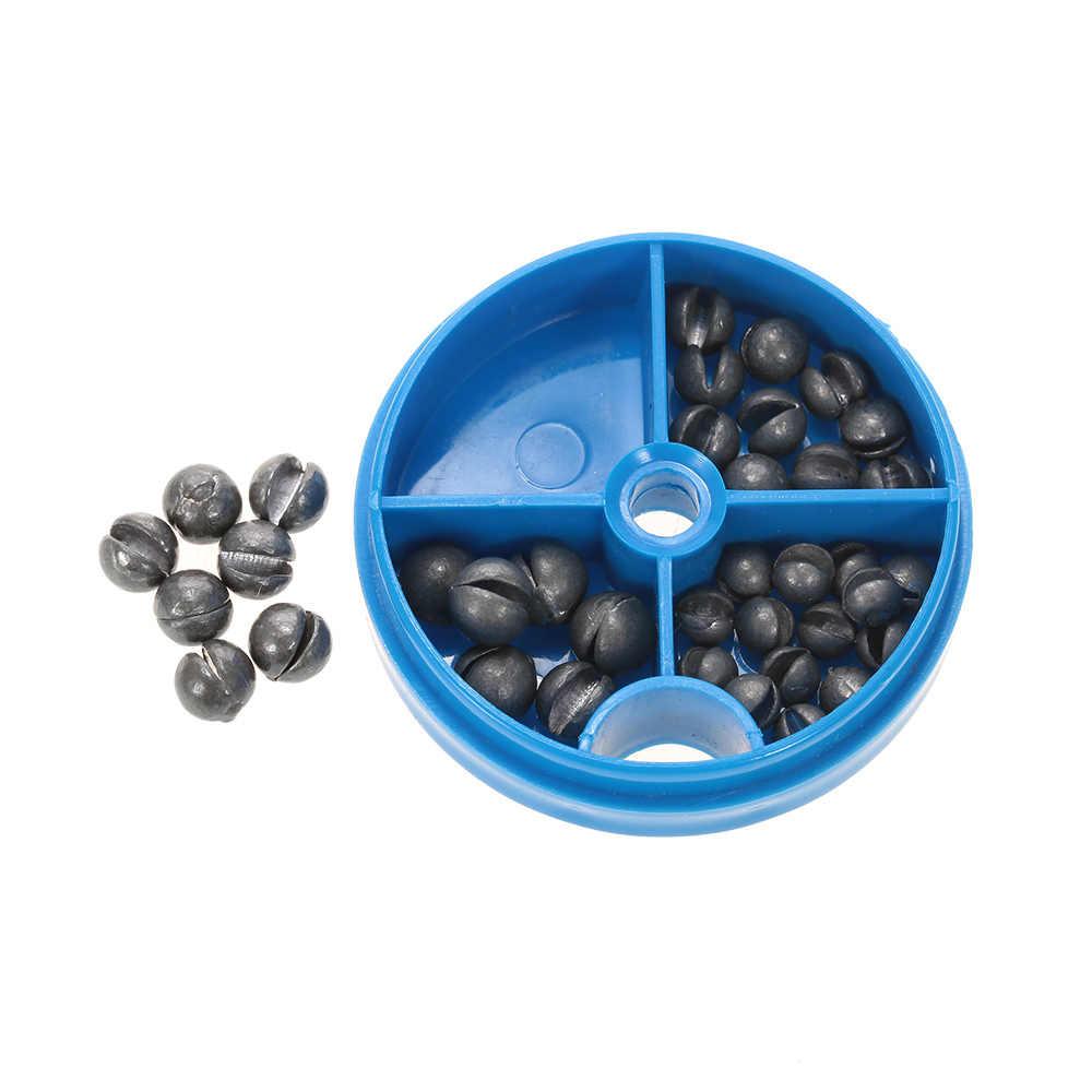 Kit de plomb rond amovible 0.6/1/1.5/1.8g Split Shot Sinkers ensemble de plomb pur ouvert poids outil de pêche avec boîte
