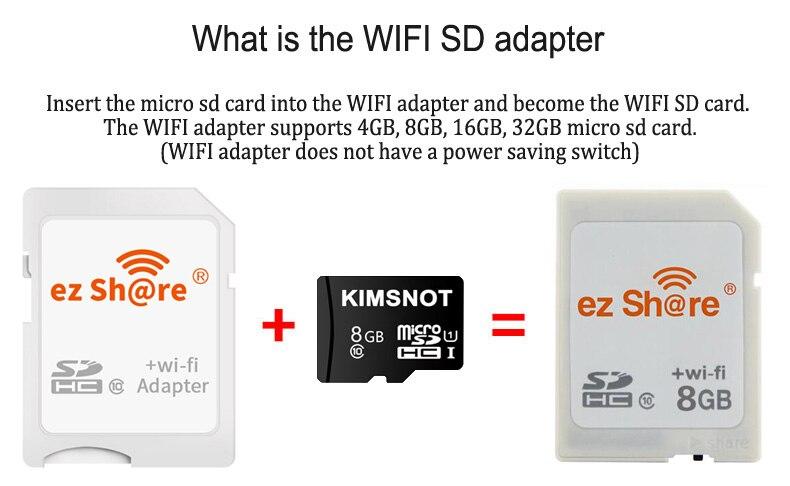 ez share WiFi SD Card Wireless Micro SD Adapter 8GB 16GB 32GB Camera Memory  Card Support 8GB 16GB 32GB TF Microsd Card Reader