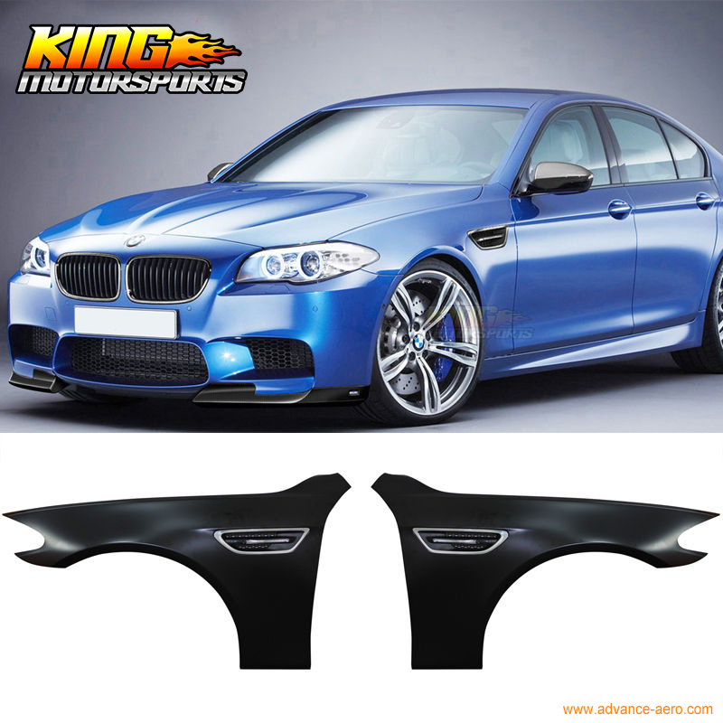 FOR 2011 2016 BMW F10 5 Series M5 Metal Fenders + Chrome Side Vent + LED Side Lamp