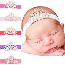Luxury Baby Girl Headband Crown Hair Band Princess Baby Girl Crystal Pearl Crown Hairband For Girl Head Wear(China)