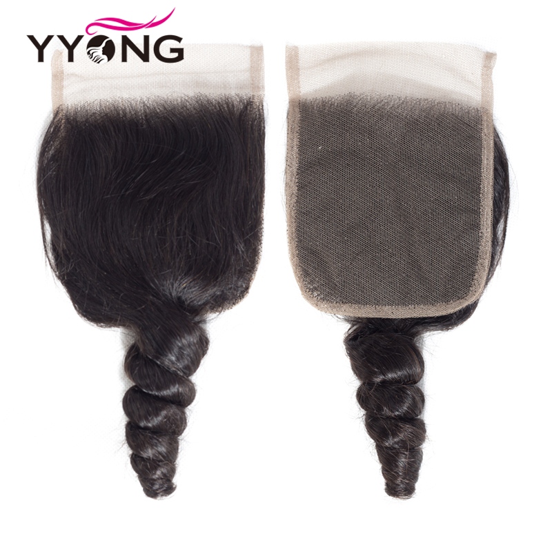 Yyong Hair  Loose Wave 3 Bundles  With Lace Closure 4*4 Lace Closure With Bundles Natural Color  Hair 5