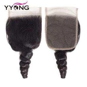 Image 5 - Yyong Hair Peruvian Loose Wave 3 Bundles Human Hair With Lace Closure 4*4 Lace Closure With Bundles Natural Color Remy Hair