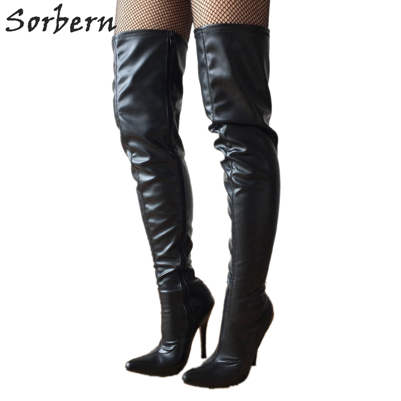 Sorbern Black Matte Over Knee Length Boots 12cm Botines Mujer Pointed Toe New Arrival 2019 Ladies Fashion Boots Custom ColorSorbern Black Matte Over Knee Length Boots 12cm Botines Mujer Pointed Toe New Arrival 2019 Ladies Fashion Boots Custom Color