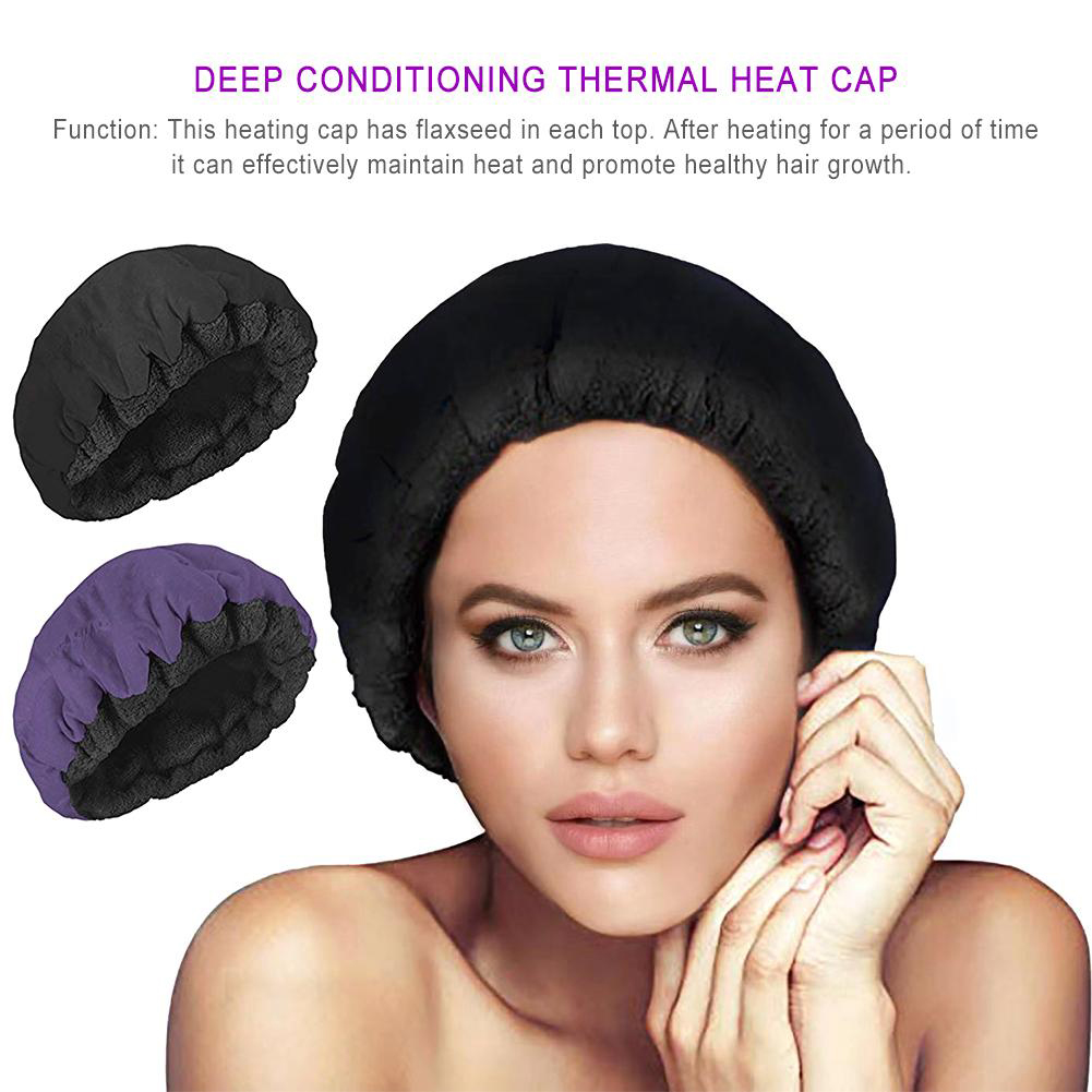 Hair Styling Heat Cap Portable Reusable Elastic Deep Conditioning Cordless Solid Reversible Microfiber Flaxseed Interior Hat