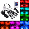 Castaleca 4pcs Colorful RGB 9 SMD LED Strip Car Light Car Styling Interior Floor Decoration Lamps