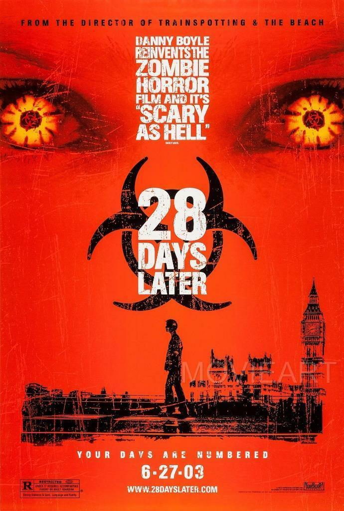 <font><b>28</b></font> <font><b>DAYS</b></font> <font><b>LATER</b></font> HORROR MOVIE SILK POSTER Wall painting 24x36inch image