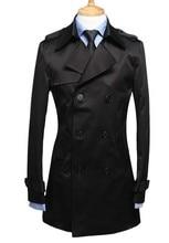 Black blue khaki men's spring clothing slim single breasted trench long coat men thin medium-long mens jackets and coats S – 3XL