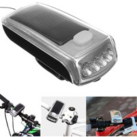 Newest 2 In 1 1200 Lumens 4 LED USB Rechargeable Bike Bicycle Solar Headlight Speaker Bell