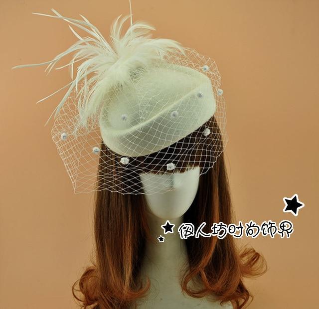 Marfil lana sombrero nupcial con plumas velo de novia accesorios para el cabello flores de la boda sombreros reino unido venta al por mayor sombreros del Fascinator para mujeres