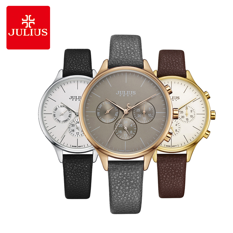 Real Multi-functions Thin Lady Women's Watch ISA Mov't Fine Fashion Hours Dress Sport Leather Girl Birthday Gift Julius Box real functions julius shell women s watch isa mov t hours clock fine fashion bracelet sport leather birthday girl gift box