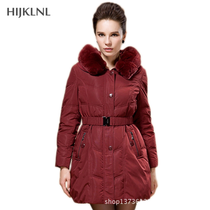 HIJKLNL Parkas winter   coat   women 2019 plus size parka jacket thick warm slim duck   down     coat   with fur hood women Parkas DX339