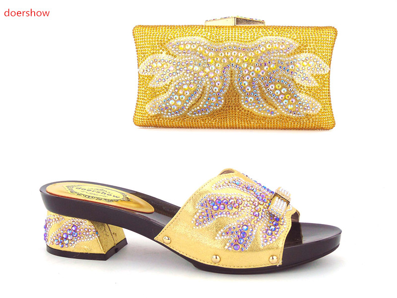 doershow Italy Shoe and Bag Women High Quality Italian Shoe and Bag Set Decorated with Rhinestone African Wedding KH1-6 fashion italy design italian matching shoe and bag set african wedding shoe and bag sets women shoe and bag to match tmm1 41