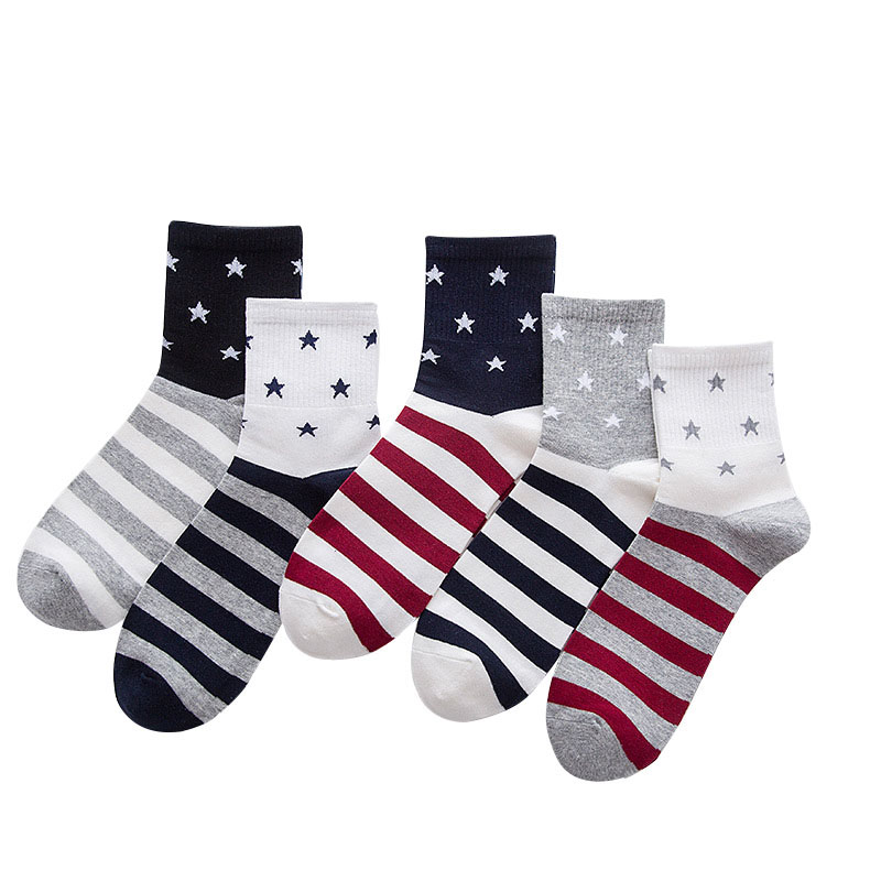 5 Pairs/lot Men Socks Trendy Striped Patchwork Five-pointed Star Cotton Sock Stretchy Anti-friction Absorb Sweat Male Short Sock