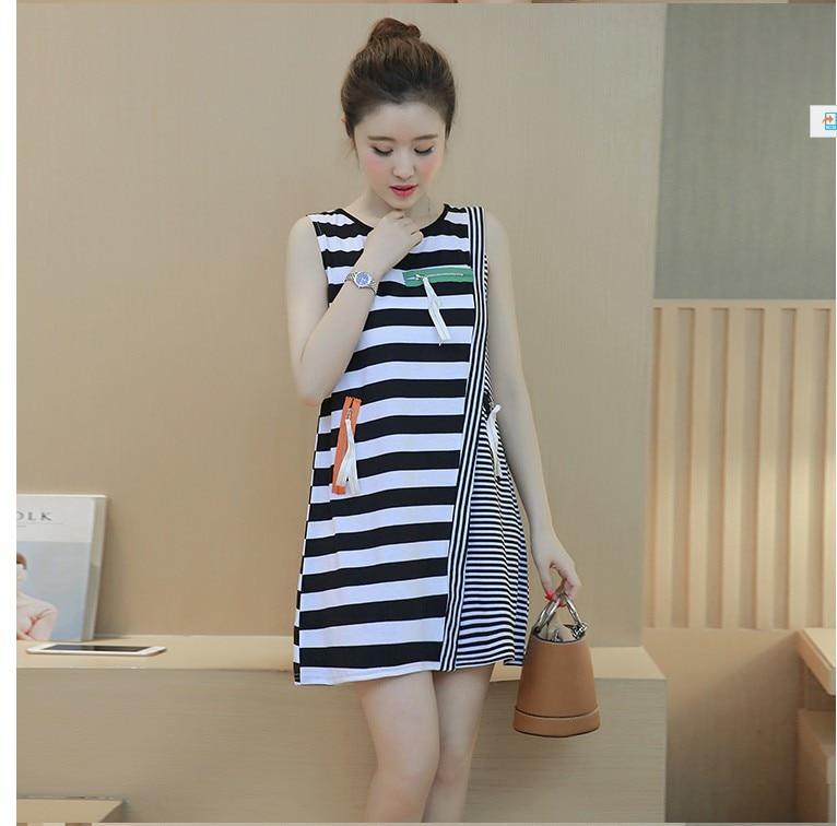 Pregnant women new summer sleeveless striped zipper decoration long paragraph dress female pregnancy was thin A