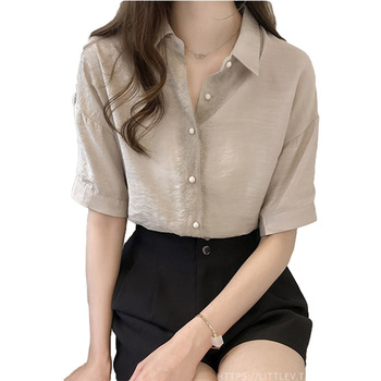 VogorSean Summer Cotton Women Blouse Shirt Solid 2019 New Loose Casual Plus size Womens Blouses Top White/Apricot/Gray