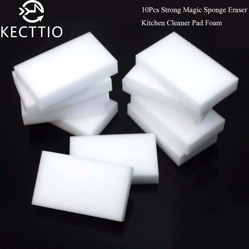 цена 10Pcs Melamine Sponge Magic Sponge Eraser Melamine Cleaner Eco-Friendly White Kitchen Magic Eraser 10*6*2cm Hot Sale