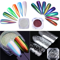 Holographic Chameleon Nail Powder Unicorn Dust Mirror Laser Nail Art Chrome Pigment Silver Flakes Glitters 4