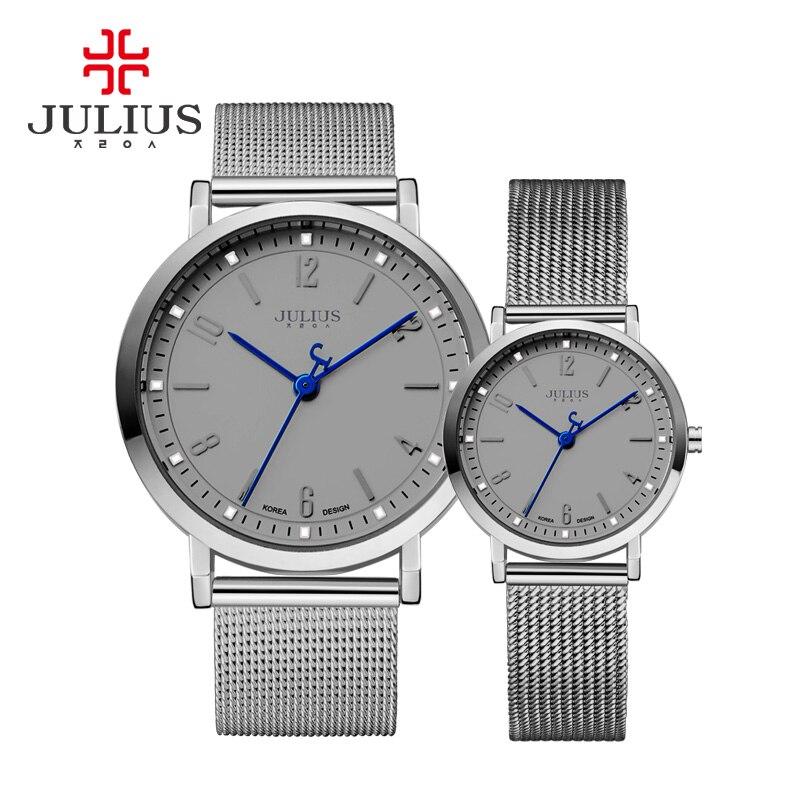 New Julius Woman s Men s Wrist Watch Couple Quartz Hours Best Fashion Dress Bracelet Steel