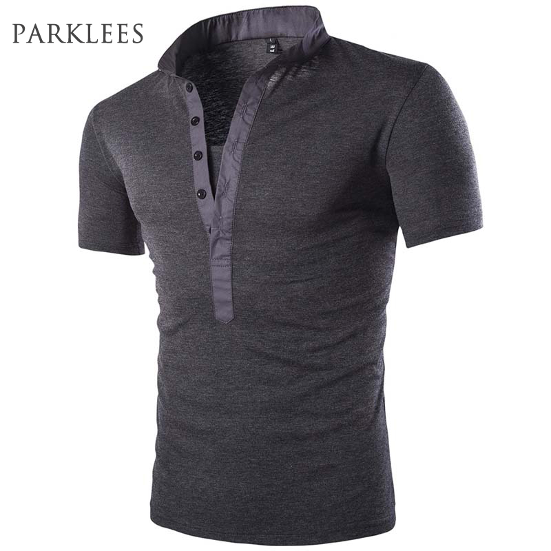 Polo shirt men 2017 summer brand solid color v neck short for Mens collared henley shirt